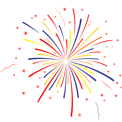 Straight Lined PNG Yellow-blue-red Fireworks