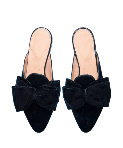 Antoine Black Velvet Slides With Bow Flat Shoes Png PNG Images