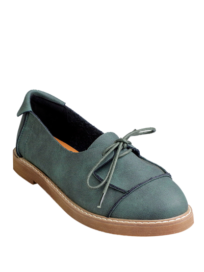 Round Toe Lace Up Flat Shoes, Green In Flats Png PNG Images