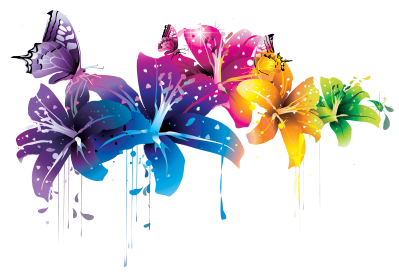 Colorful Floral Photo Png For Design PNG Images