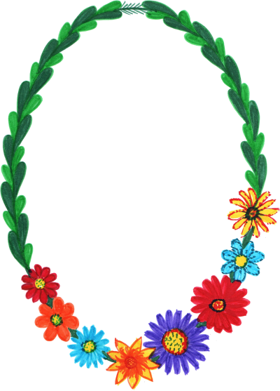 Oval Flower Frame Png Transparent Colorful Flowers In Frame, Wreath