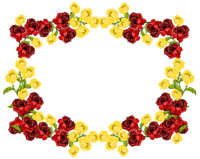 Red And Yellow Flower Frame Png PNG Images