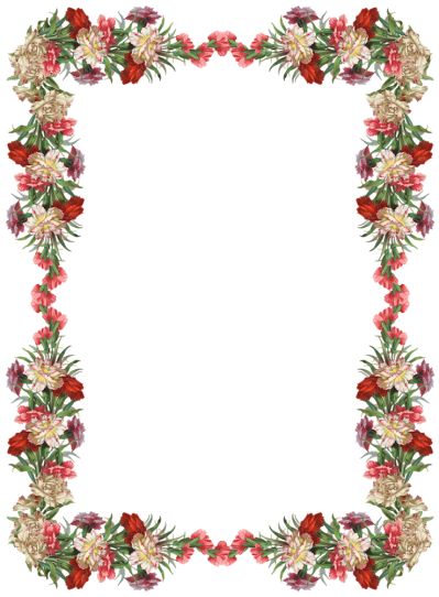 Digital Vintage Flower Frame And Border Png