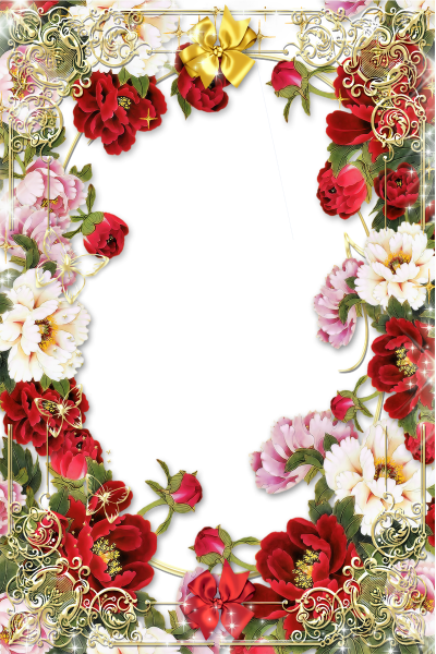 Flowers Picture Frame With Golden Floral Border Images