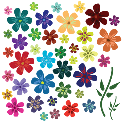 Colors Flowers Vectors Picture PNG Images