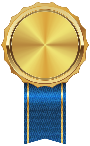 Gold Medal With Blue Ribbon Png Clipart Image