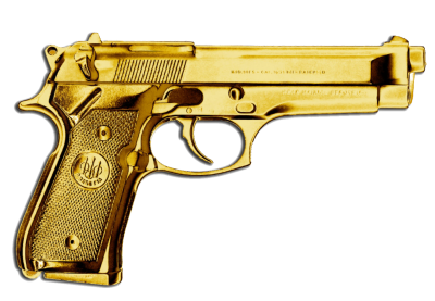 Gold Plated Revolver Gun Transparent Free Background, Color PNG Images