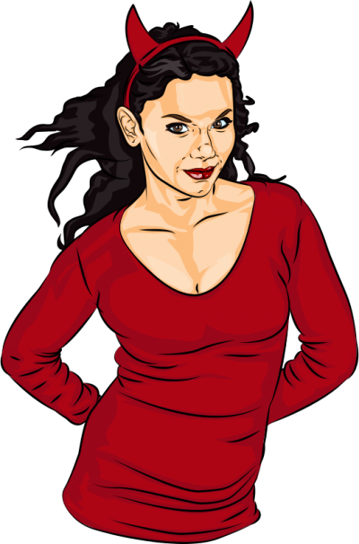 Woman In Devil Halloween Costume Png