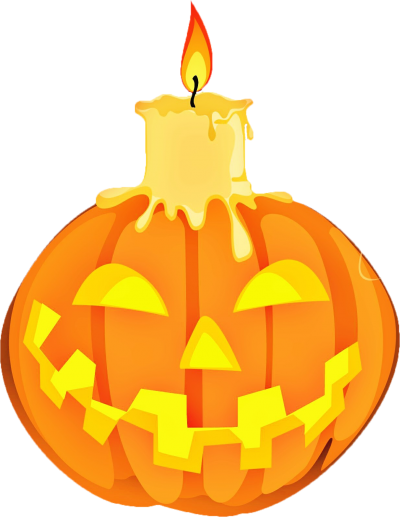 Jack O Lantern And Burning Candle Png PNG Images