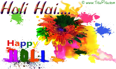 Paint Splash Happy Holi Text Photo