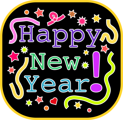 Happy New Year Black And Colorful images PNG Images