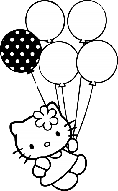 Black And White Holding Balloons Hello Kitty Clipart Png Free Download PNG Images