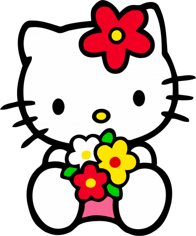 Holding Flowers Hello Kitty Photos Png Hd Background PNG Images