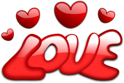 Love Text With Hearts Valentine Free Vector Graphic
