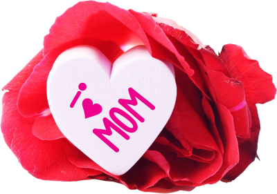 Love Mom Heart And A Rose Png Pictures