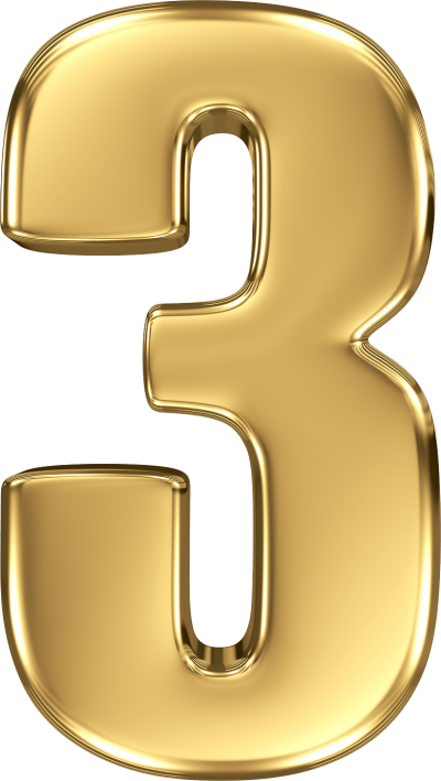3 Golden Number Three Clipart Transparent Free PNG Images