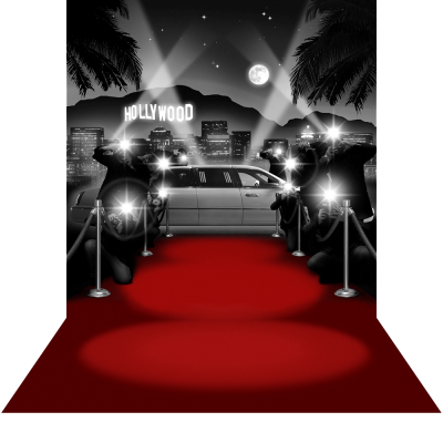 Paparazzi Hollywood With Red Carpet Floor Png PNG Images