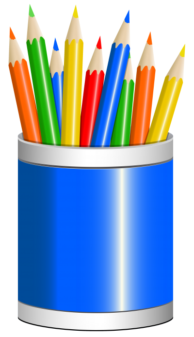 Coloring Pencils With Blue Box Transparent Background PNG Images