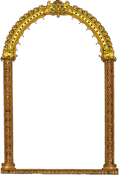 Fancy Gold Color Door Photo Frame Png Clipart PNG Images