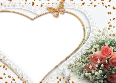 Heart And Flower Photo Frame Transparent Png PNG Images