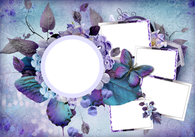 Purple Themed Blank Papers And Elegant Flowers Png Transparent PNG Images