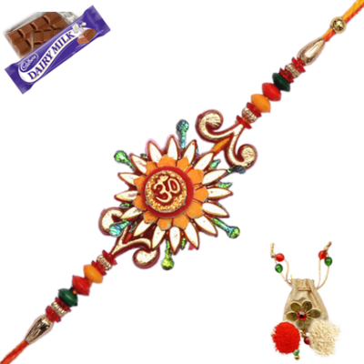 Traditional Om Zardosi Rakhi With Beautiful Design Pictures PNG Images