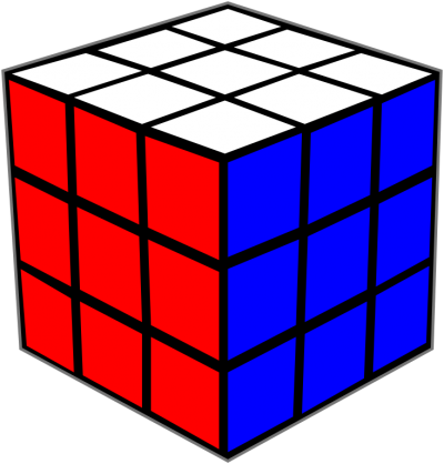 Rubiks Cube White And Blue Background