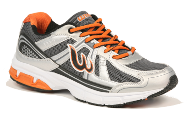 Running Shoes White And Orange Lacing PNG Images
