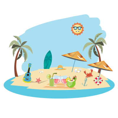 Summer Hd Photo Beach With, Elements Illustration PNG Images