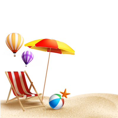 Flying Balloons And Sunbeds Summer Clipart Hd Free Download PNG Images