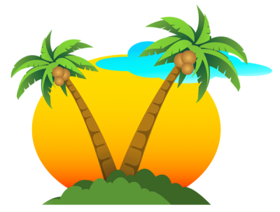 Summer Vacation Clipart Png Background, Tree, Sun PNG Images