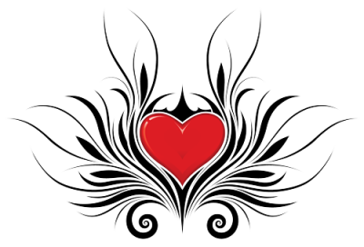 Tribal Heart Tattoo Designs Png PNG Images