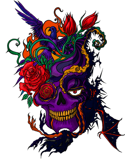 Colorful Skull Tattoo Png Hd Background illustration, Modern Tattoo, Drawing PNG Images