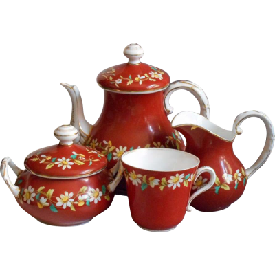 Red Tea Set HD Image PNG Images