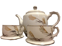 White Patterned Tea Set Picture PNG Images