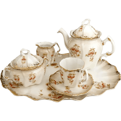 Cream Tea Set Simple PNG Images