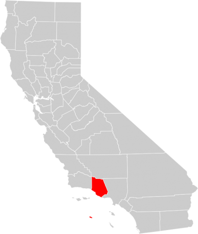 California County Map (ventura County Highlighted) Png