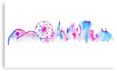 Disneyland California Watercolor Skyline Silhouette Illustration PNG Images