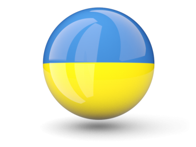 Circle Ukraine Glossy Flag Picture