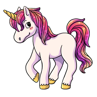Pink Sparkly Facing Sideways Unicorn Transparent images Download PNG Images