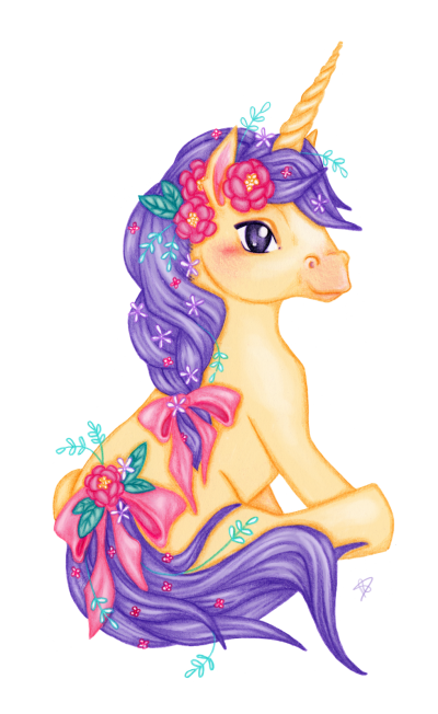Purple Haired Flowered Unicorn Transparent Hd Picture PNG Images