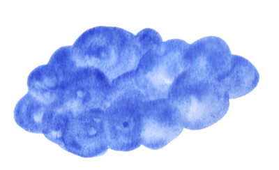 Cloud Drawing in Navy Blue Watercolor Background Png PNG Images