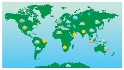World Weather Forecast Map And Icons Clipart