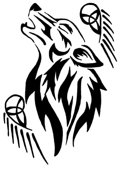Tribal Wolf Tattoo Png PNG Images