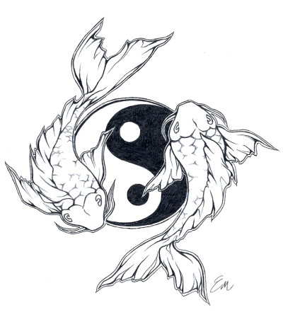 Yinyang Koi Fish Tattoo Design images PNG Images