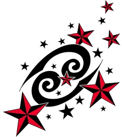 Red Nautical Stars And Cancer Zodiac Tattoo Design Pictures  PNG Images